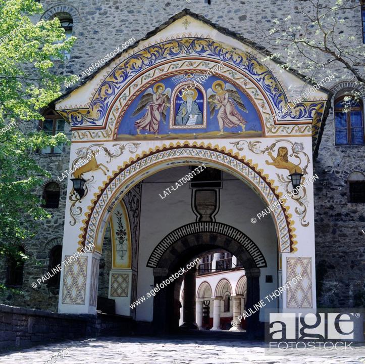 Stock Photo: Doupnista gate at Rila monastery.