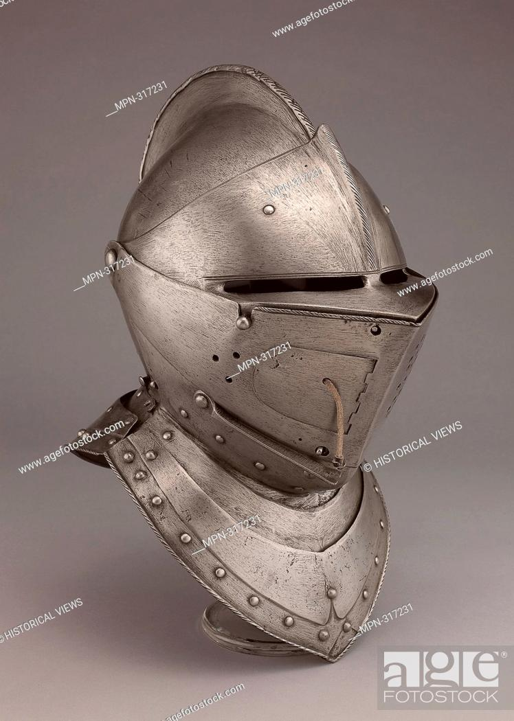 Stock Photo: Close Helmet for the Tourney - 1600/10 - South German; probably Augsburg. Steel and leather. 1600 - 1610.