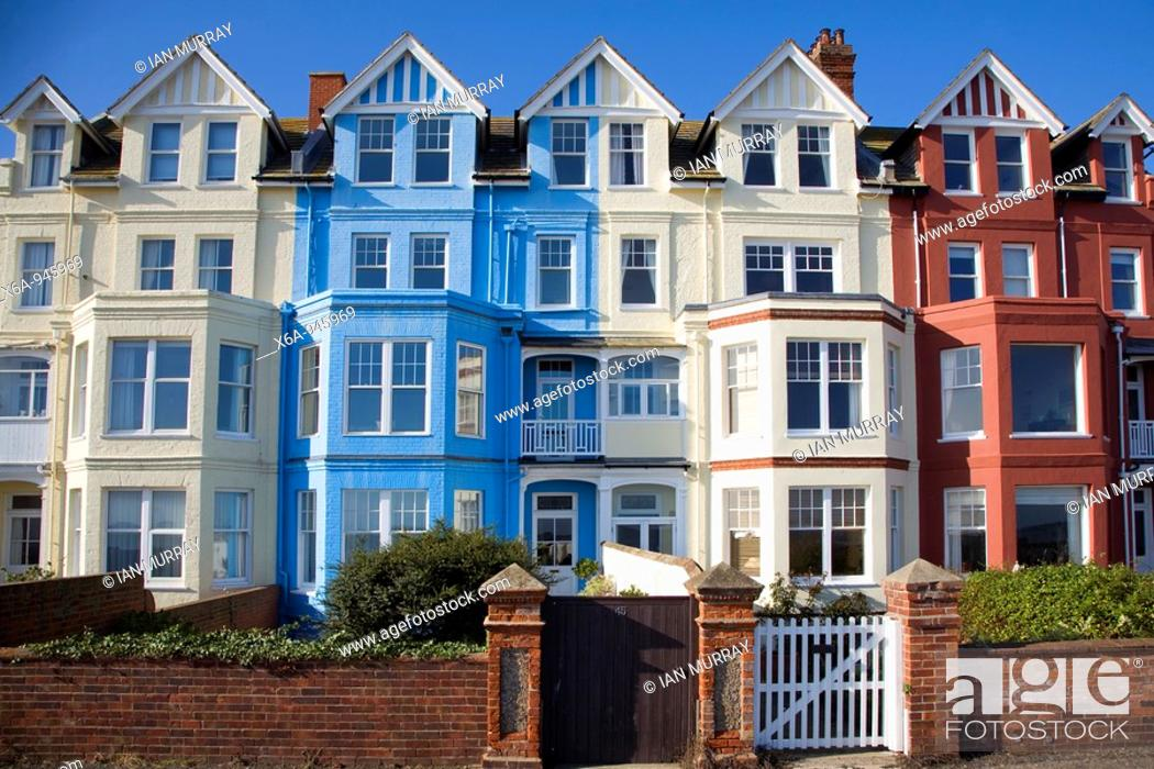 Stock Photo: Seaside buildings along the front, Aldeburgh, Suffolk, England.