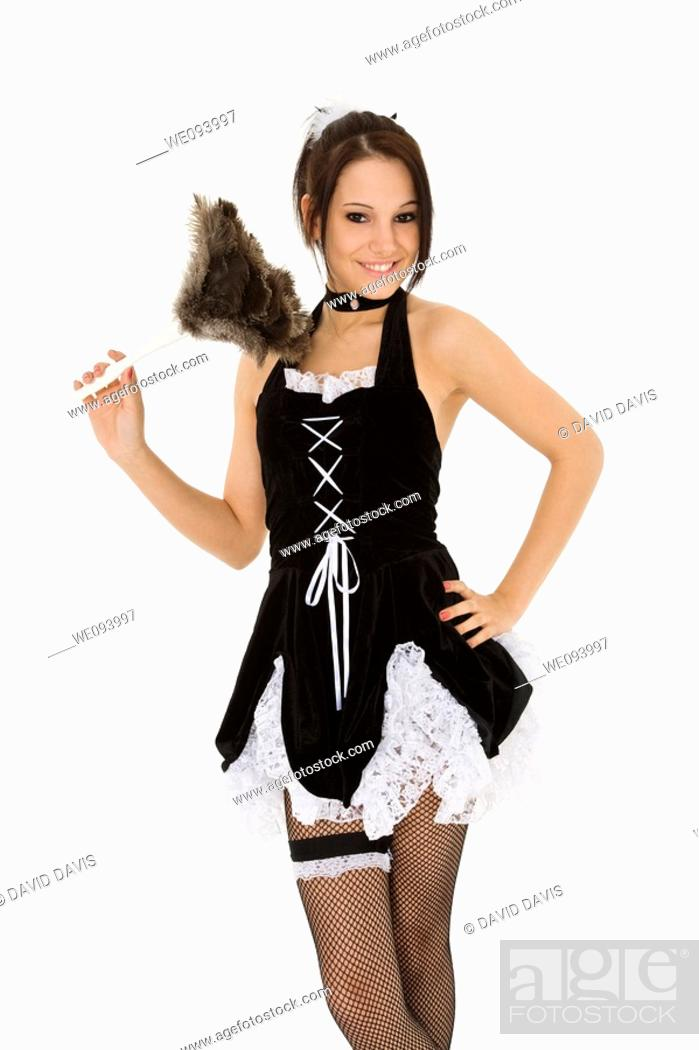 Stock Photo: Beautiful caucasian woman dressed in a French Maid costume.