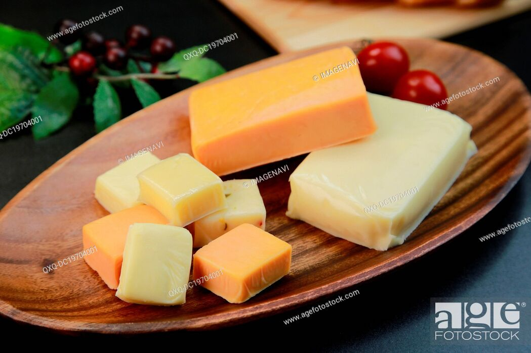 Stock Photo: Assorted cheeses.