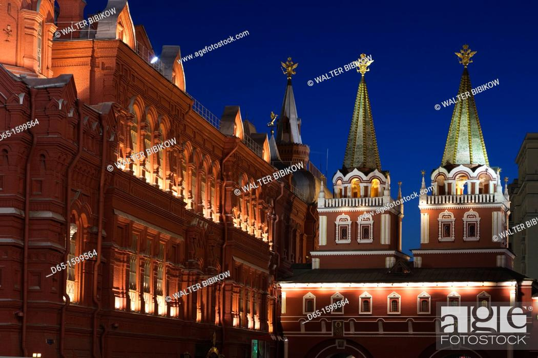 Stock Photo: Russia, Moscow Oblast, Moscow, Red Square, State History Museum and Resurrection Gate, evening.