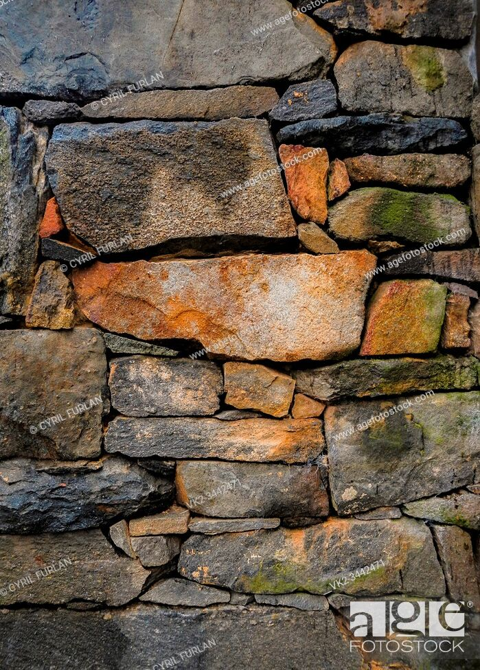 Stock Photo: Colonial American rock wall construction.