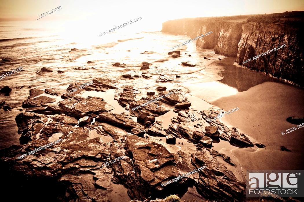 Stock Photo: Las Catedrales beach  Ribadeo  Lugo province  Galicia  Spain.