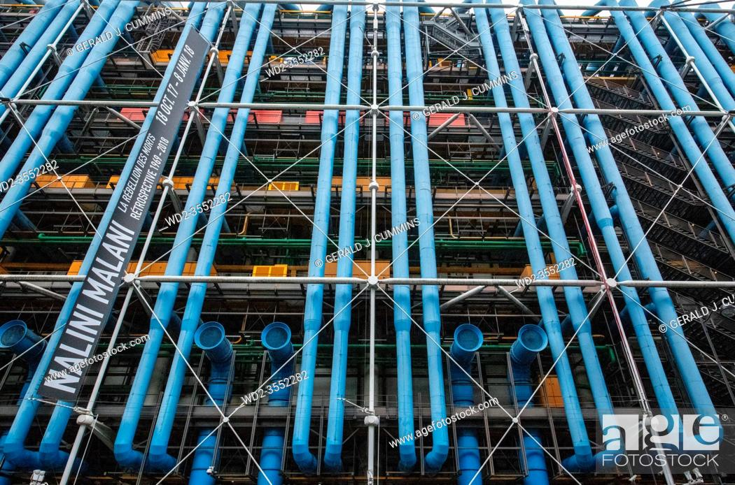 Stock Photo: France Paris 12 - 2019: Pompidou Centre, a complex building in the Beaubourg area, the first major example of an 'inside-out' building in architectural history.