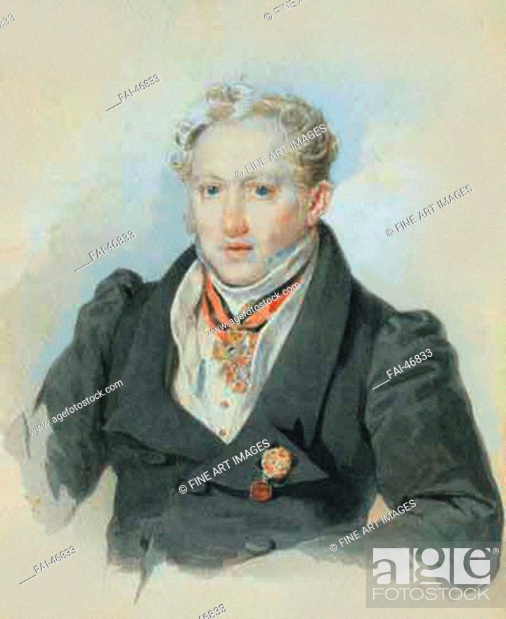 Stock Photo: Alexander Ivanovich Blok (1786-1848) by Sokolov, Pyotr Fyodorovich (1791-1848)/Colour Lithography/Romanticism/1829/Russia/Russian State Archive of Literature.