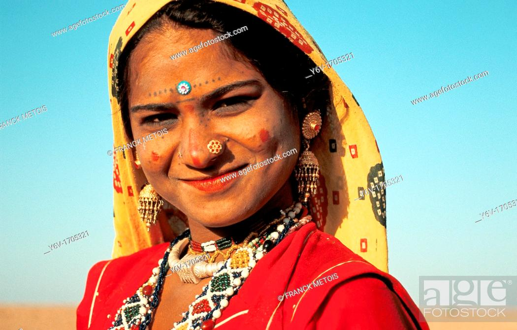 Stock Photo: Hindu girl belonging to an untouchable group at the time of Diwali festival. Thar desert, India.