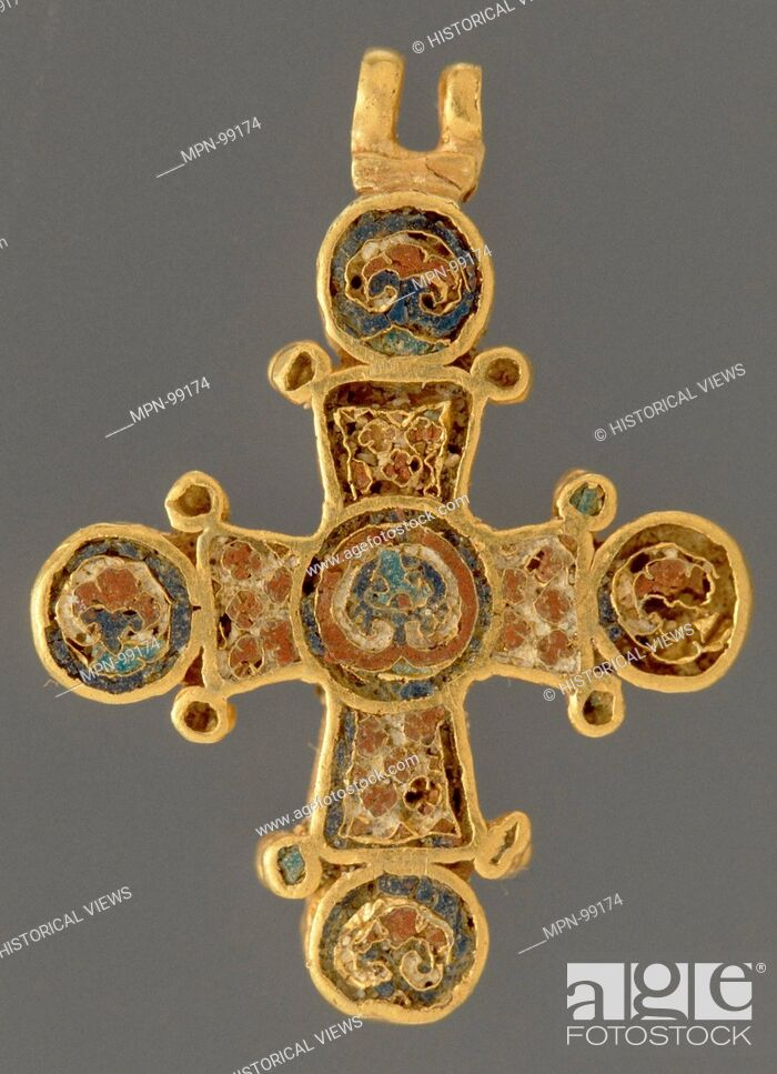 Stock Photo: Cross. Date: ca. 1100; Geography: Made in Constantinople; Culture: Byzantine; Medium: Cloisonne enamel (red and blue); Dimensions: 15/16 x 7/8 x 1/8 in.