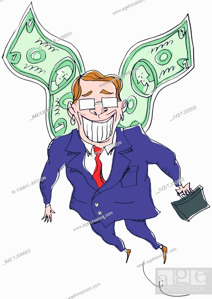 Stock Photo: A businessman with wings made out of money.