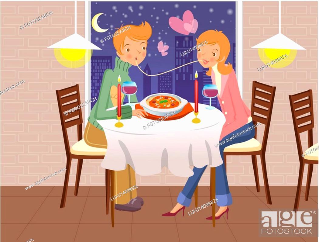 Stock Photo: anniversary, table, romance, seasons, couple, love.