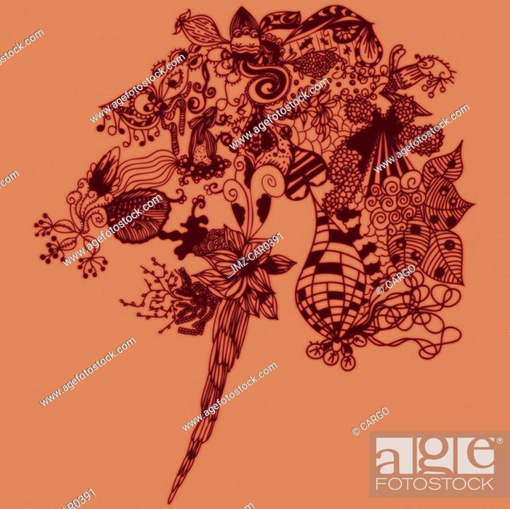 Stock Photo: Orange bouquet of abstract floral patterns.