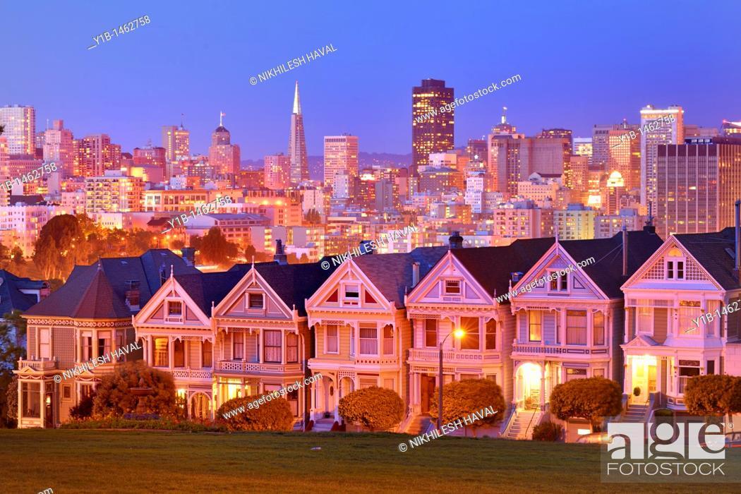 Stock Photo: 2010 San Francisco Skyline and Painted Ladies, California.