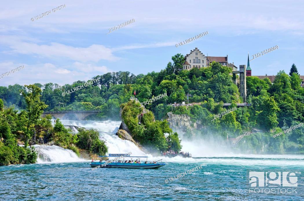 Stock Photo: The Rhine Falls and Laufen Castle, Schaffhausen, Switzerland.