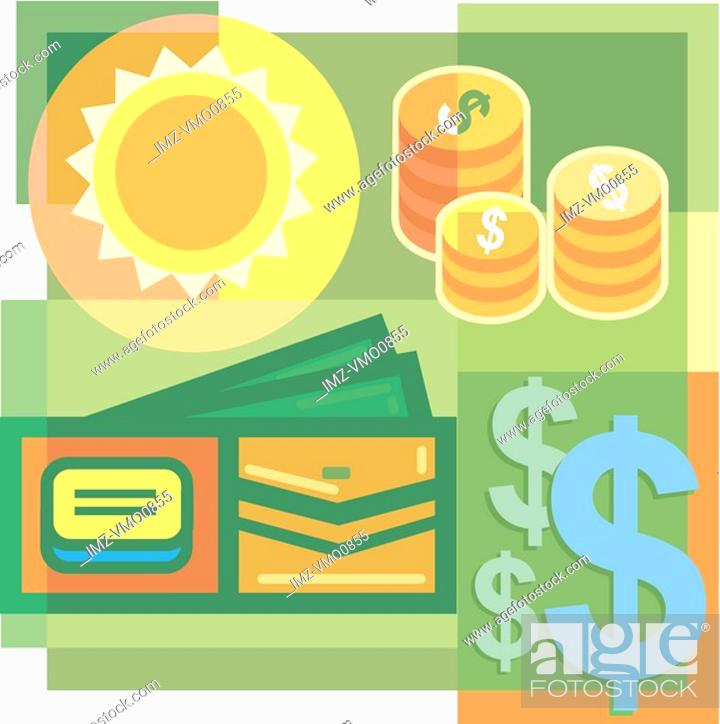 Stock Photo: A montage of the sun, coins, a wallet, and dollar signs.