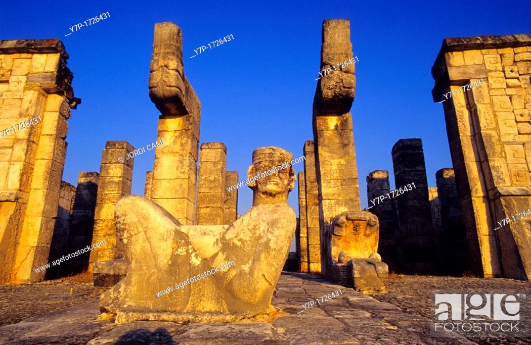 Stock Photo: Chac-Mool Mayan Rain God statue  Temple of the Warriors  Chichén Itzá  Mexico.