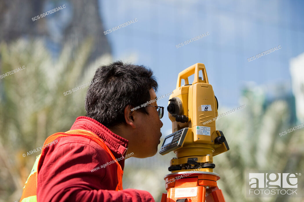 Stock Photo: A surveyor working on a construction project in Dubai.