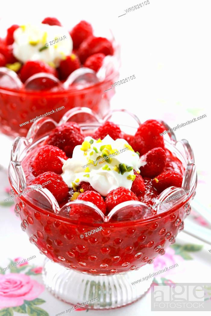 Stock Photo: Strawberry dessert with raspberries and cream.