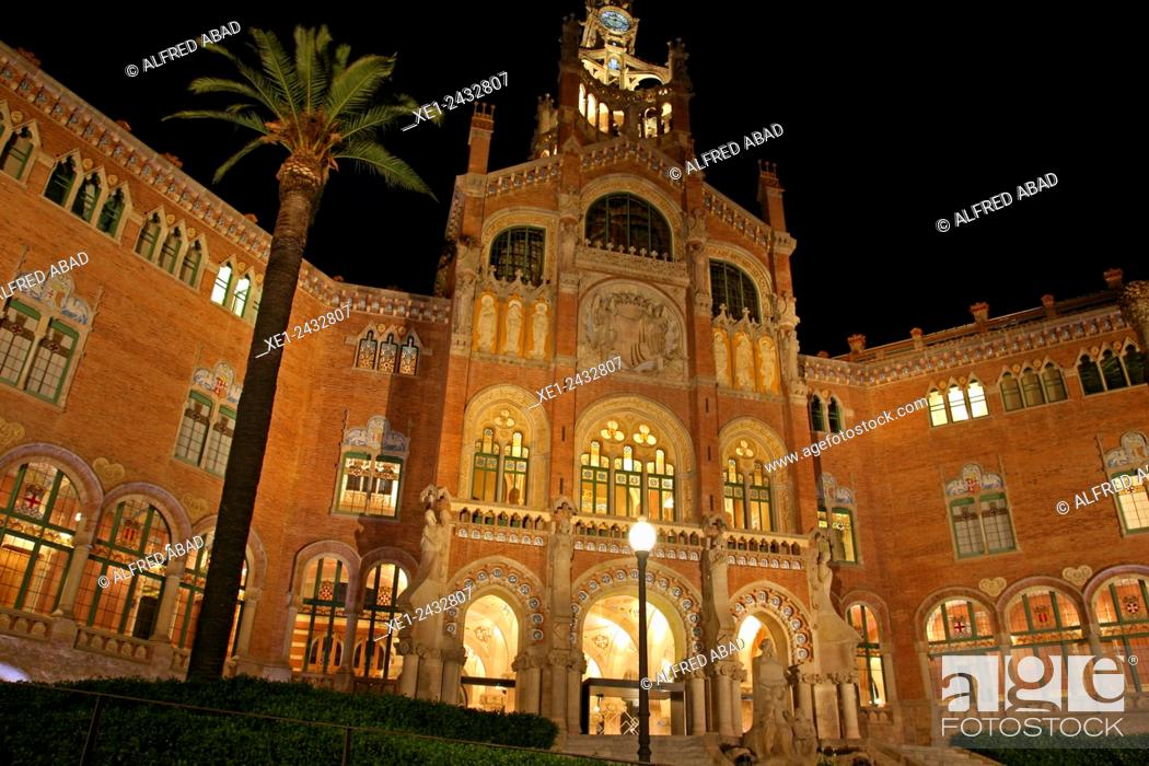 Stock Photo: Sant Pau modernist enclosure at night, 1902, arch. Lluis Domenech i Montaner, Barcelona, Catalonia, Spain.