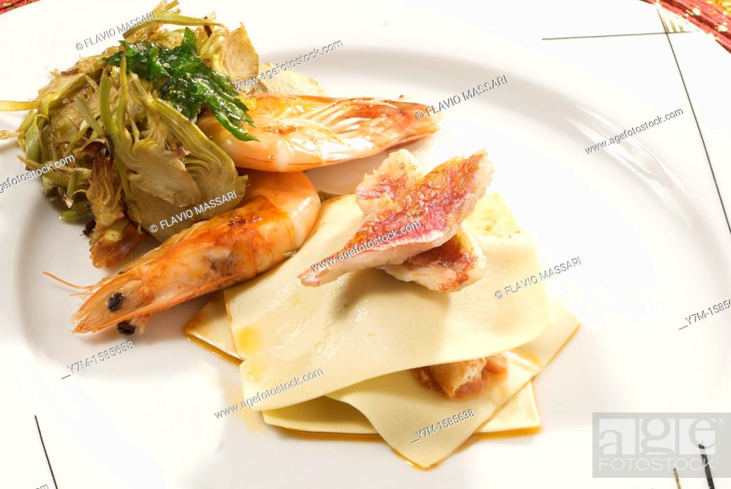 Stock Photo: shrimps and mullet with artichoke.