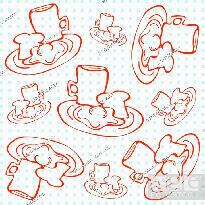 Stock Photo: background, wallpaper, milk, toast, breakfast, indoors, pattern.