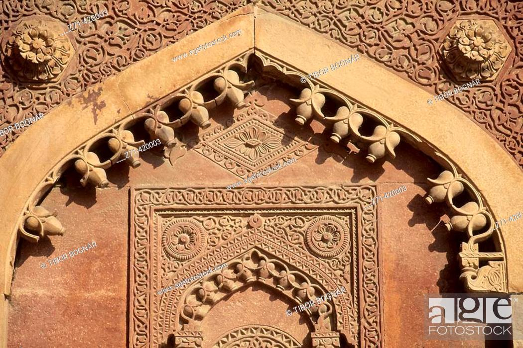Stock Photo: Architectural detail of Red Fort, Agra. Uttar Pradesh, India.