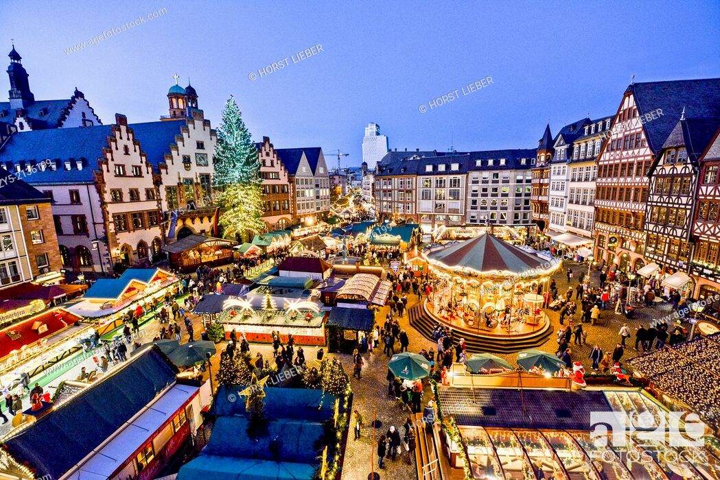 Stock Photo: Christmas market on the Romans square in front of City Hall in Frankfurt, Germany.