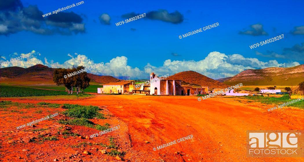 Stock Photo: Cortijo del Fraile's farmhouse, western movie location, Cabo de Gata Natural Park, Spain.