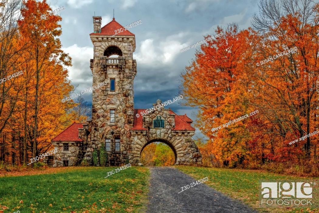 Stock Photo: Mohonk Preserve Gatehouse - Surrounded by the warm and bright colors of fall foliage which make this area of New Paltz, New York a popular travel destination.
