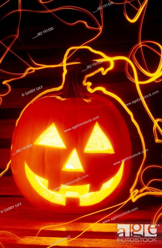 Stock Photo: Carved halloween pumpkin.