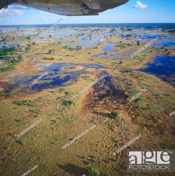 Stock Photo: Okavango Delta seen from a small plane. Botswana.