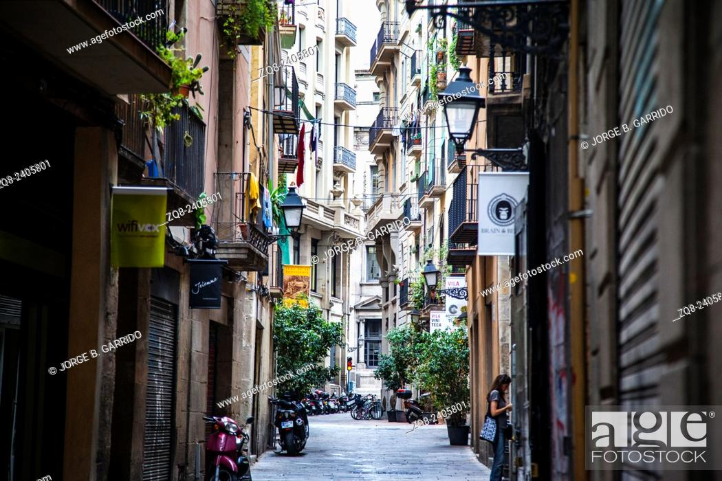 Stock Photo: Narrow street in El Born, Barcelona, Spain.