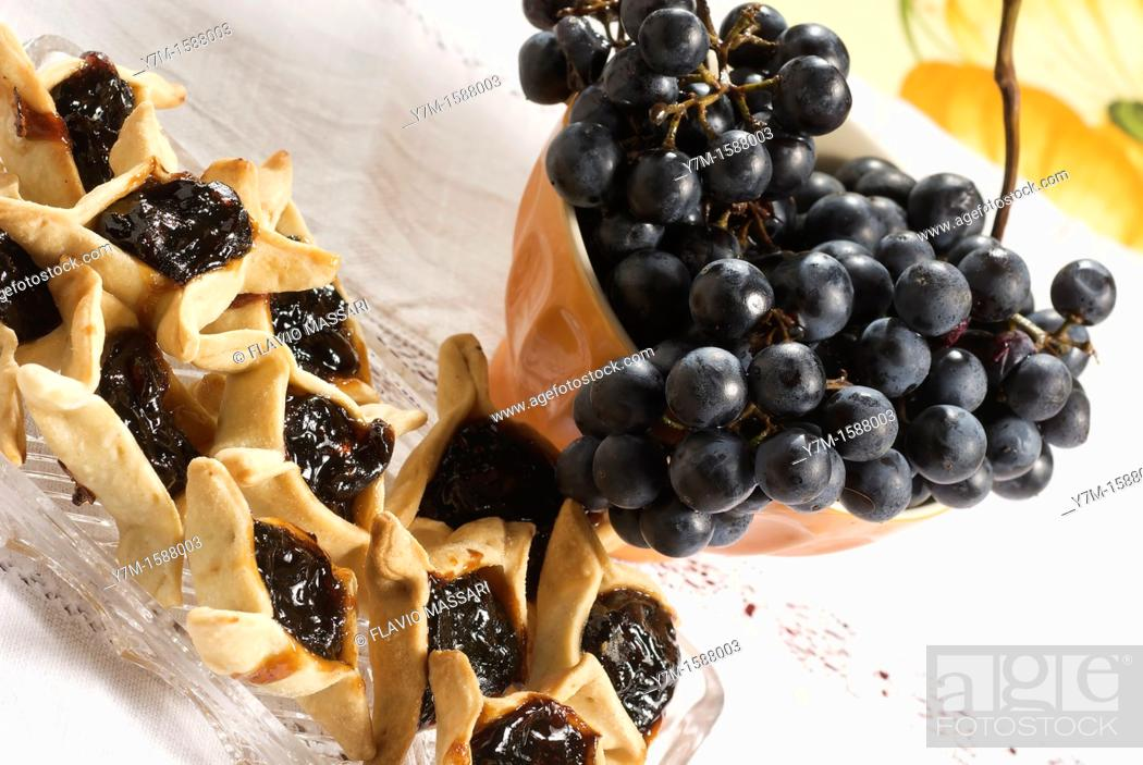 Stock Photo: pastry with grape marmalade.