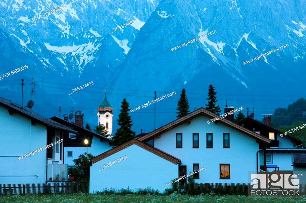 Stock Photo: Town and Wetterstein Mountains in the evening, Farchant, Bavaria, Germany.