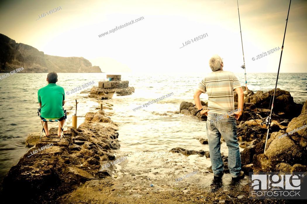 Stock Photo: Fisherman in Cabo de Gata, Almeria, Spain.