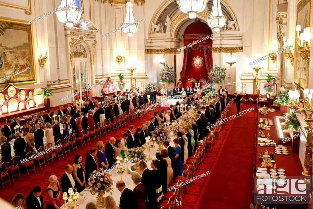 Stock Photo: State Banquet for President Barack Obama hosted by Queen Elizabeth II at Buckingham Palace. London, England, May 24, 2011. (BSLOC-2015-3-216).