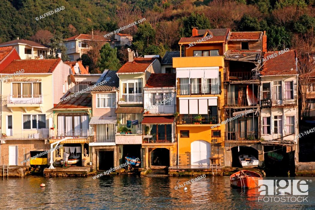 Stock Photo: houses with piers, Bosphorus Strait, Anadolu Kavagi, Turkey.