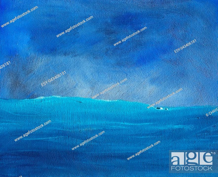 Stock Photo: Blue shades sky and ocean abstract saturated oil paint texture background with visible brush strokes.