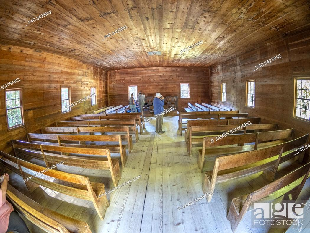 Stock Photo: Interior of Cades Cove Primitive Baptist Church in Cades Cove in the Great Smoky Mountains National Park in Tennessee in the United States.