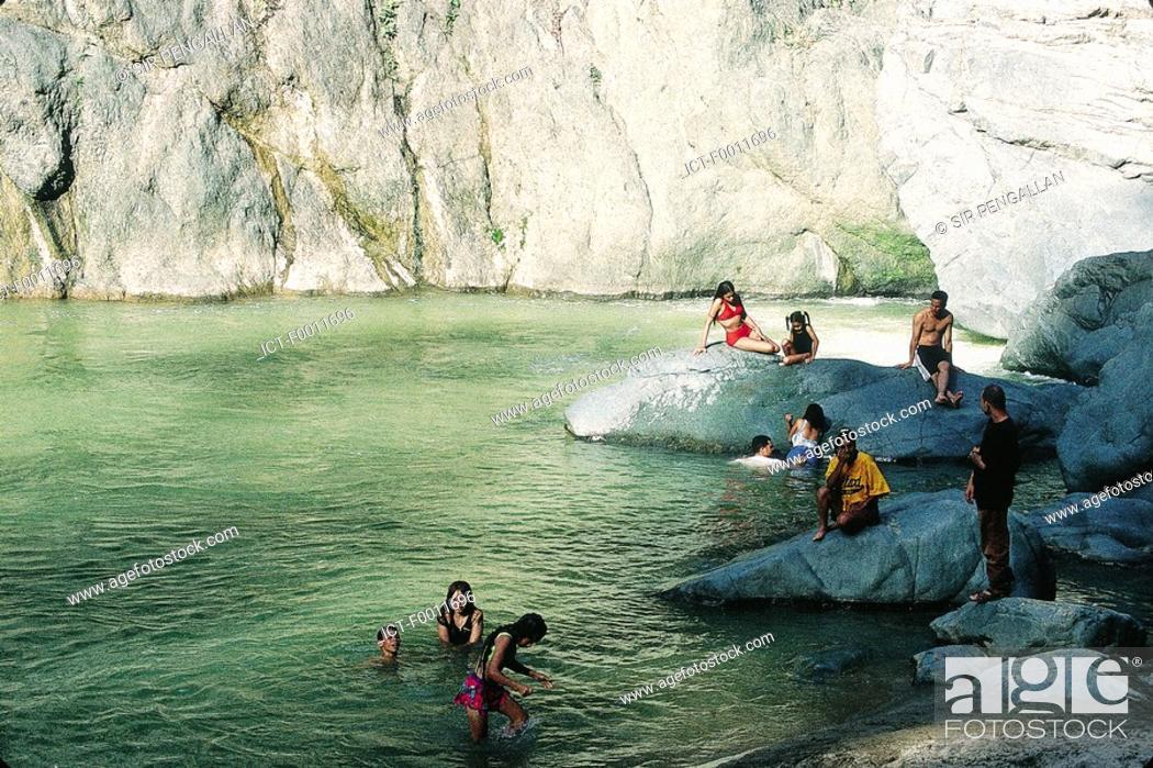 Stock Photo: Domenican Republic, Jimenoa salto river, bathing.