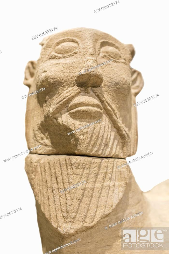 Stock Photo: Madrid, Spain - November 10, 2017: Biche of Bazalote. Sculpture made of limestone belong to Iberian Culture. Isolated over white background.