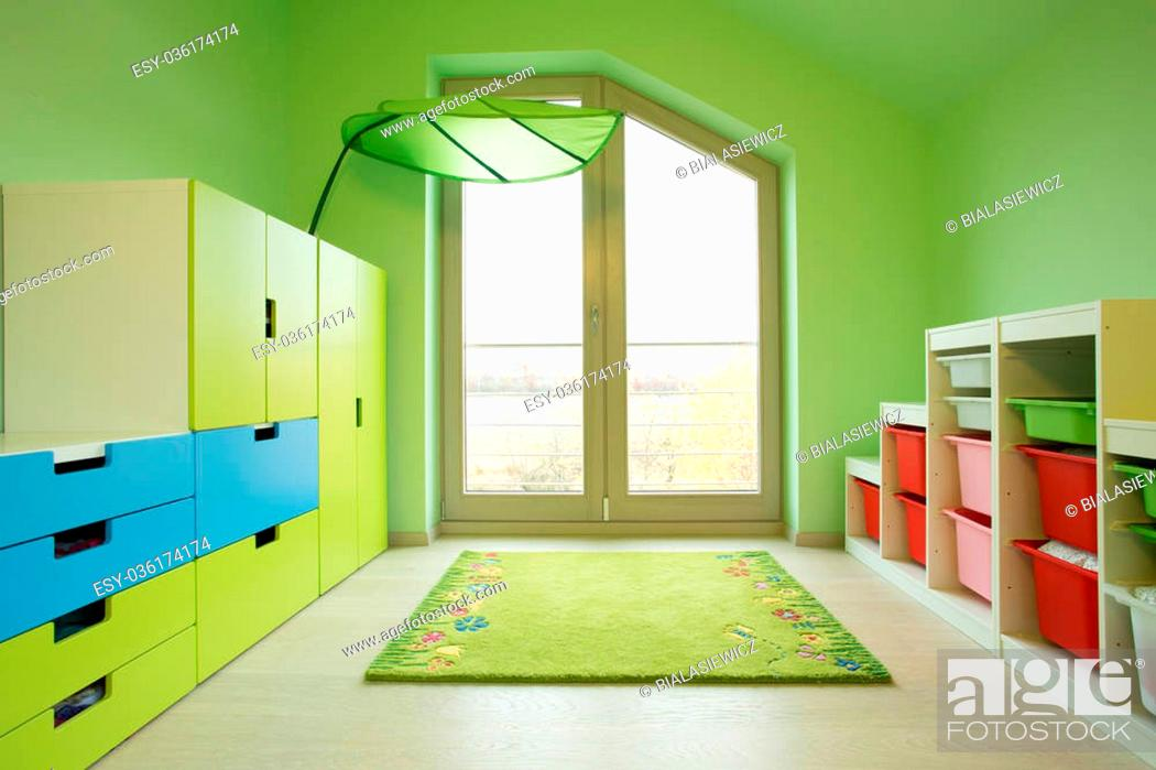 Stock Photo: Colorful kids room in the attic, horizontal.