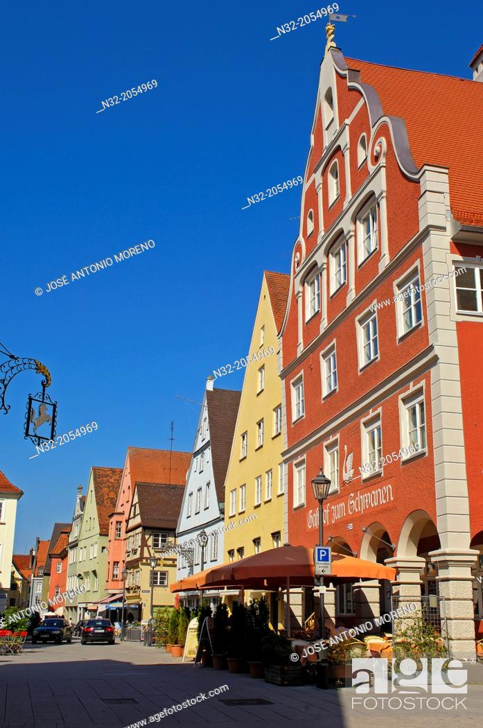 Stock Photo: Kalchstrasse, Memmingen, Allgäu region, Swabia, Bavaria, Germany.