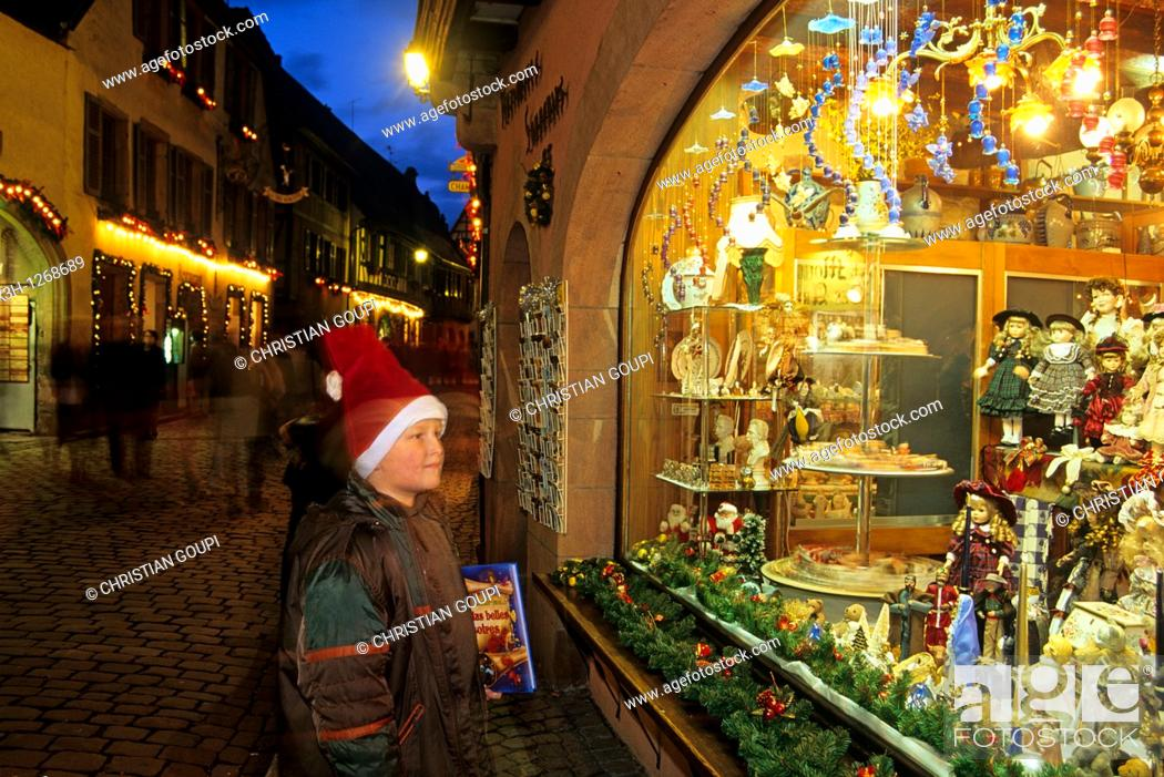 Stock Photo: Christmas shop window, Kaysersberg, Haut-Rhin department, Alsace region, north-eastern France, Europe.