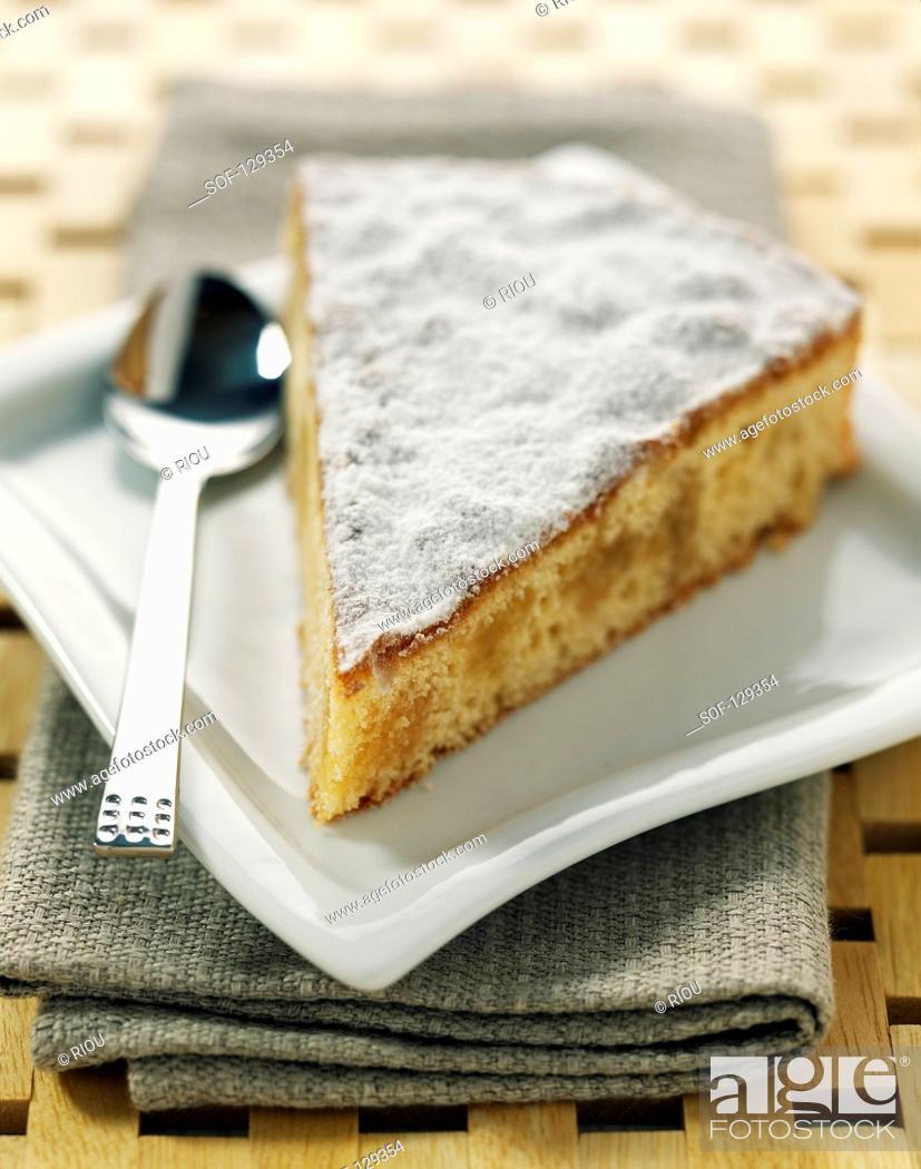 Stock Photo: Portion of soft lemon cake.