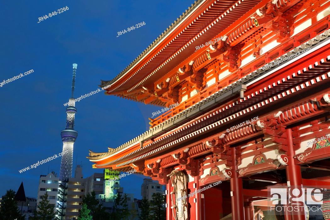 Stock Photo: Senso-ji temple and Skytree Tower at night, Asakusa, Tokyo, Japan, Asia.