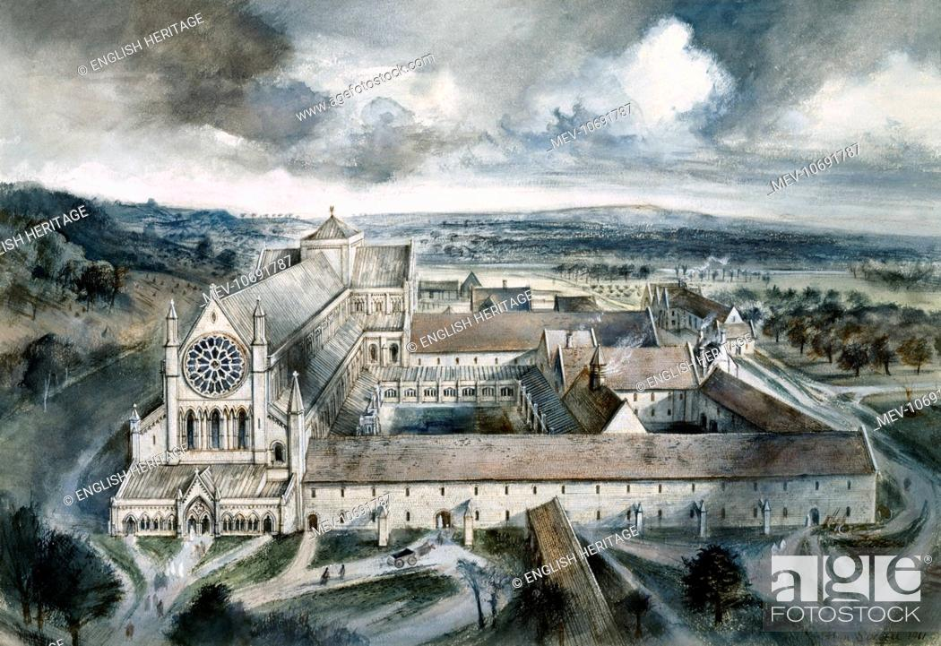 Stock Photo: Byland Abbey, North Yorkshire. Reconstruction drawing by Alan Sorrell showing the abbey as it might have appeared in the year 1539.