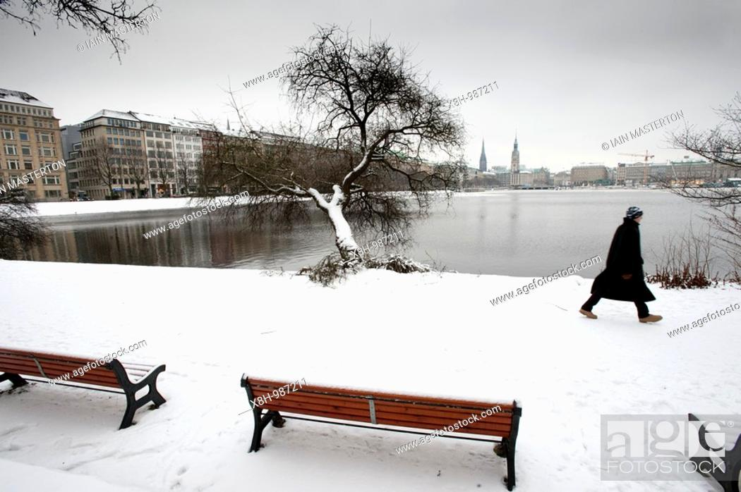 Stock Photo: Snow covered winter view of Binnenalster Lake in Hamburg Schleswig-Holstein, Germany.