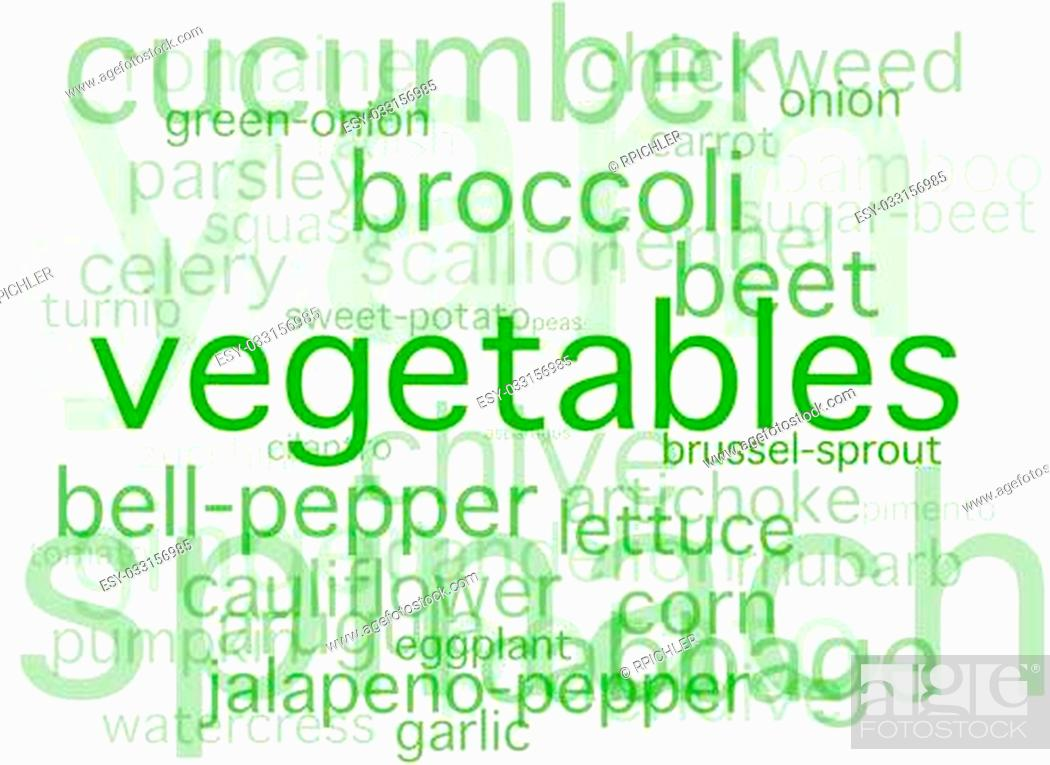A simple collage of vegetable names, Stock Photo, Picture And Low