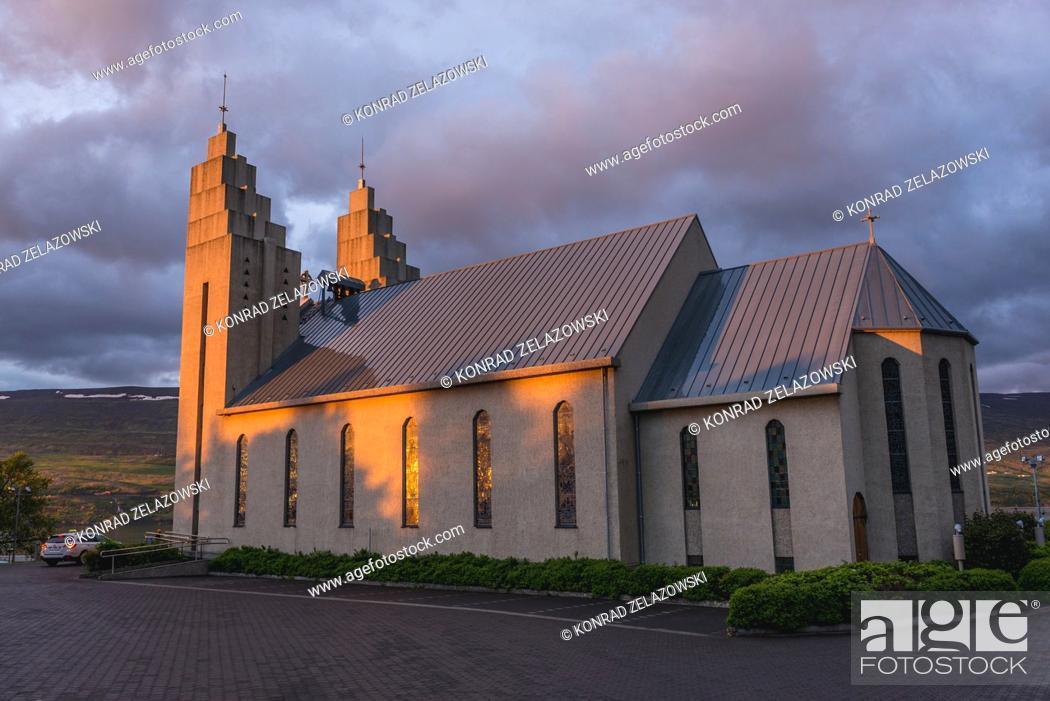 Stock Photo: Akureyrarkirkja - Church of Akureyri city build in 1940, Capital of North Iceland.