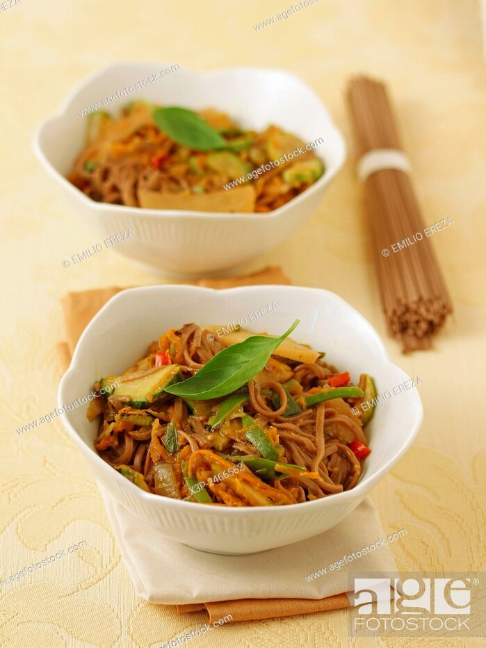 Stock Photo: Soba noodles with vegetables.